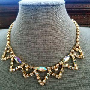 Vintage Amber Aurora Borealis Necklace